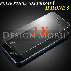 2X FOLIE DE STICLA IPHONE 5 5C 5C TEMPERED GLASS SUPER OFERTA (2 BUC) - Folie de protectie Apple, iPhone 5/5S
