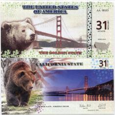 STATELE UNITE ALE AMERICII(CALIFORNIA)- 31 DOLLARS 2016- UNC!! - bancnota america