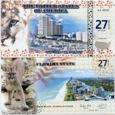 STATELE UNITE ALE AMERICII(FLORIDA)- 27 DOLLARS 2016- UNC!! - bancnota america