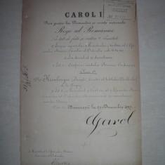 BREVET, SEMNATURI REGELE CAROL I SI DIMITRIE STURDZA, 1897,BUCURESCI