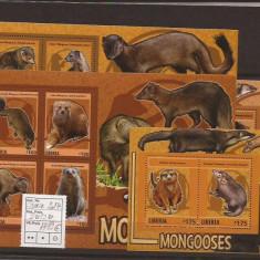 Liberia - mangooses - 2014 - Timbre straine, Natura, Nestampilat
