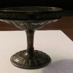 CY - Fructiera mica veche din alama argintata lipsa toarta si sticla - Metal/Fonta, Ornamentale