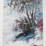 Peisaj de iarna tablou semnat Anicai pictura in ulei pe hartie - Pictor roman, Peisaje, Realism
