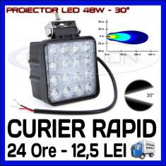 PROIECTOR LED PATRAT 12V, 24V - OFFROAD, SUV, UTILAJE - 48W DISPERSIE 60 GRADE - Proiectoare tuning, Universal