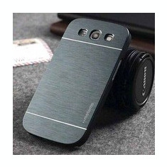 Husa gri  aluminiu + plastic  pentru Samsung Galaxy S3 i9300 + folie