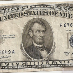 SUA USA 5 DOLARI DOLLARS 1953 A VF - bancnota america, An: 1963