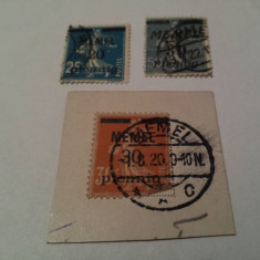 Germania/memel 1920-22 semanatoarea/ 3 v. stampilate