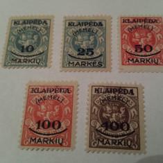 Germania/memel 1923 blazoane/ serie MH/ 22 Euro, Nestampilat