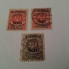 Germania/memel 1923 / 3 v. stampilate/ 11 euro