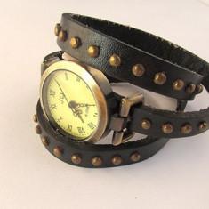 Ceas vintage curea cu tinte negru - Ceas dama Hello Kitty, Piele ecologica, Analog