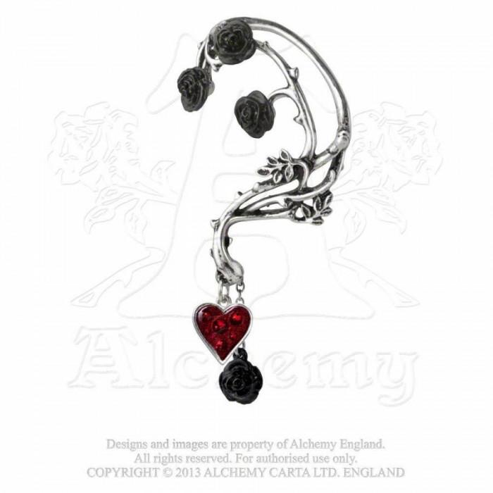 Cercel gotic tip ear cuff Șirag de trandafiri foto mare