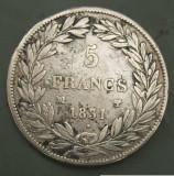 JN. 5 francs / franci 1831 MA, argint, nr 2, Europa