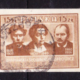 Timbre POLONIA 1947 = PERSONALITATI CULTURALE, NEDANT., Stampilat