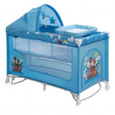Patut pliant LORELLI CLASSIC Nanny 2 Plus Rocker - Blue Adventure - Patut pliant bebelusi Lorelli, Albastru