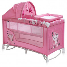 Patut pliant LORELLI CLASSIC Nanny 2 Plus Rocker - Pink Kitten - Patut pliant bebelusi Lorelli, Roz