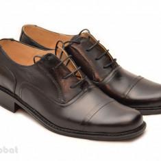 Pantofi barbati piele naturala negri casual-eleganti cu siret cod P16, Marime: 39, 40, 41, 42, 43, 44, 45, Culoare: Negru