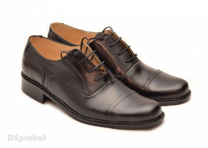 Pantofi barbati piele naturala negri casual-eleganti cu siret cod P16 foto mare