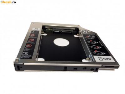 HDD Caddy laptop 12.7mm intern SATA extern SATA unversal. Monteaza la 2-lea HDD foto