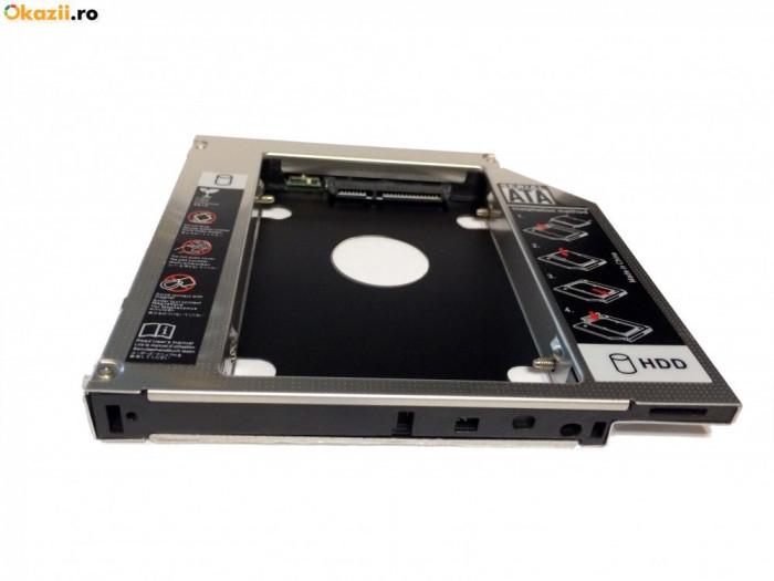 HDD Caddy laptop 12.7mm intern SATA extern SATA unversal. Monteaza la 2-lea HDD foto mare