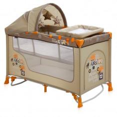 Patut pliant LORELLI CLASSIC Nanny 2 Plus Rocker - Beige Safari - Patut pliant bebelusi Lorelli, Crem