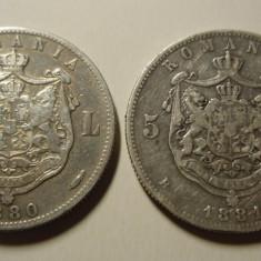 2 x 5 lei 1880+1881 gravor pe cerc si G varianta - Moneda Romania