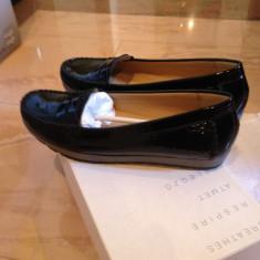 Pantofi mocasini Geox Respira piele naturala lacuita NOI marimea 39 - Pantof dama Geox, Culoare: Negru, Cu talpa joasa