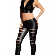 CL574-1 Leggings sexy din piele ecologica, model taiat - Colanti dama, Marime: S, M, S/M, Negru, 38-40, Normali