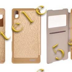 Husa Mercury WOW Bumper Samsung I9500 Galaxy S4 Gold Blister - Husa Telefon, Samsung Galaxy S4, Auriu, Piele Ecologica, Cu clapeta