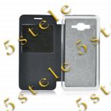 Husa Flip Carte S-View Etui Mic Lumia 640 XL Negru, Nokia Lumia 610, Vinyl