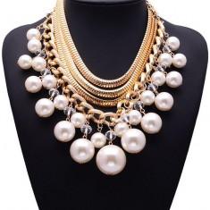 AC883 Colier fashion cu perle supradimensionate - Colier perle