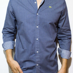 Camasa Lacoste - camasa bleu camasa barbat camasa slim camasa carouri cod 35