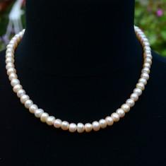 COLIER CU PERLE DE CULTURA ROZ SI INCHIZATOARE DIN ARGINT 925 - Colier perle