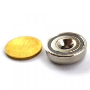 Magnet puternic neodim oala diametru 25 mm fixare surub cap ingropat