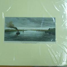 Gravura color Dunarea la Braila - Pictor roman, Natura, Pastel, Realism
