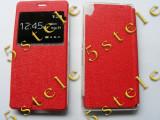 Husa Flip Carte S-View Etui Mic Lumia 640 XL Rosu, Nokia Lumia 630, Vinyl
