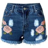 CL588-444 Pantaloni scurti din denim, cu model floral