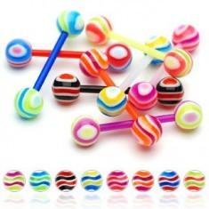 Barbell limbă cu dungi multicolore - Piercing limba