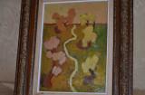 TABLOU ION SALISTEANU - Ulei pe carton - 1960 - Copaci - Elevul lui Mutzner !