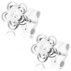 Cercei din aur alb de 9K - floare lucioasă, petale duble, zirconiu - Cercei aur alb