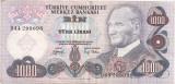 Turcia 1000 lire 1970 XF