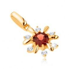 Pandantiv din aur 375 - floare decorată cu pietre transparente şi granat roşu - Pandantiv aur