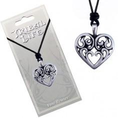 Colier din șnur - pandantiv șlefuit din metal, inimă cu ornamente - Colier fashion