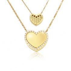 Colier din aur - inimă simetrică lucioasă, inimi decupate, zirconii - Colier aur