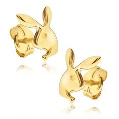 Cercei din aur galben 14K - cap lucios de iepuraș Playboy - Cercei aur