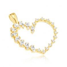 Pandantiv din aur - inimă mare, în formă de lacrimă și zirconii rotunde pe o linie - Pandantiv aur