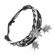 Brățară împletită cu șnururi negre cu alb, trei pandantive - frunze de marijuana - Bratara prieteniei