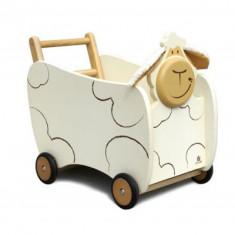 Carucior de copii din lemn cu roti, Oita alb cu maro