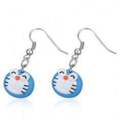 Cercei Fimo - pisică albastră ce clipeşte