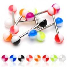 Piercing limbă cu sferturi colorate