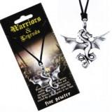 Colier din șnur - pandantiv negru din metal, dragon zburător